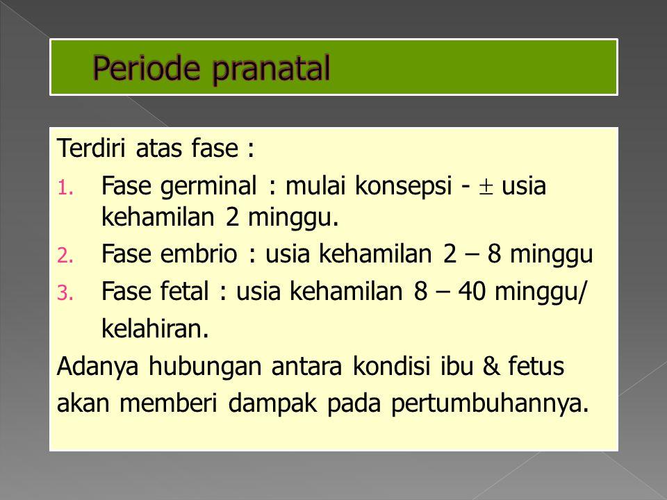 Periode pranatal Terdiri atas fase :