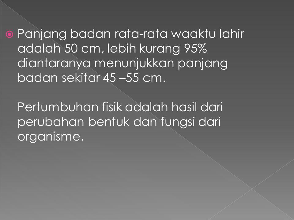 Panjang badan rata-rata waaktu lahir adalah 50 cm, lebih kurang 95% diantaranya menunjukkan panjang badan sekitar 45 –55 cm.