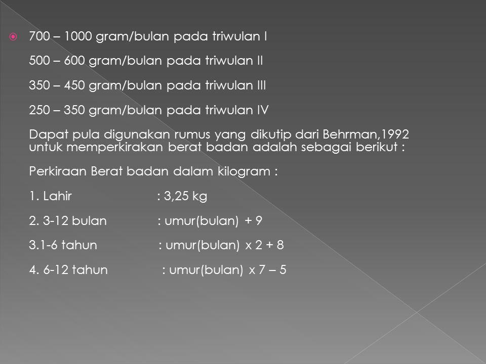 700 – 1000 gram/bulan pada triwulan I 500 – 600 gram/bulan pada triwulan II 350 – 450 gram/bulan pada triwulan III 250 – 350 gram/bulan pada triwulan IV Dapat pula digunakan rumus yang dikutip dari Behrman,1992 untuk memperkirakan berat badan adalah sebagai berikut : Perkiraan Berat badan dalam kilogram : 1.