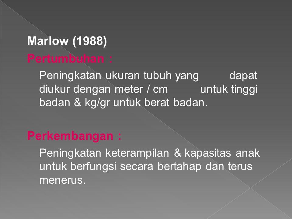 Marlow (1988) Pertumbuhan : Perkembangan :