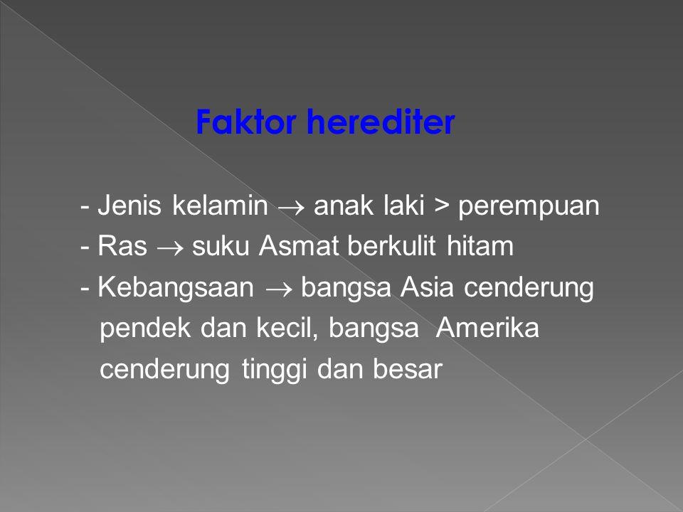 Faktor herediter - Jenis kelamin  anak laki > perempuan