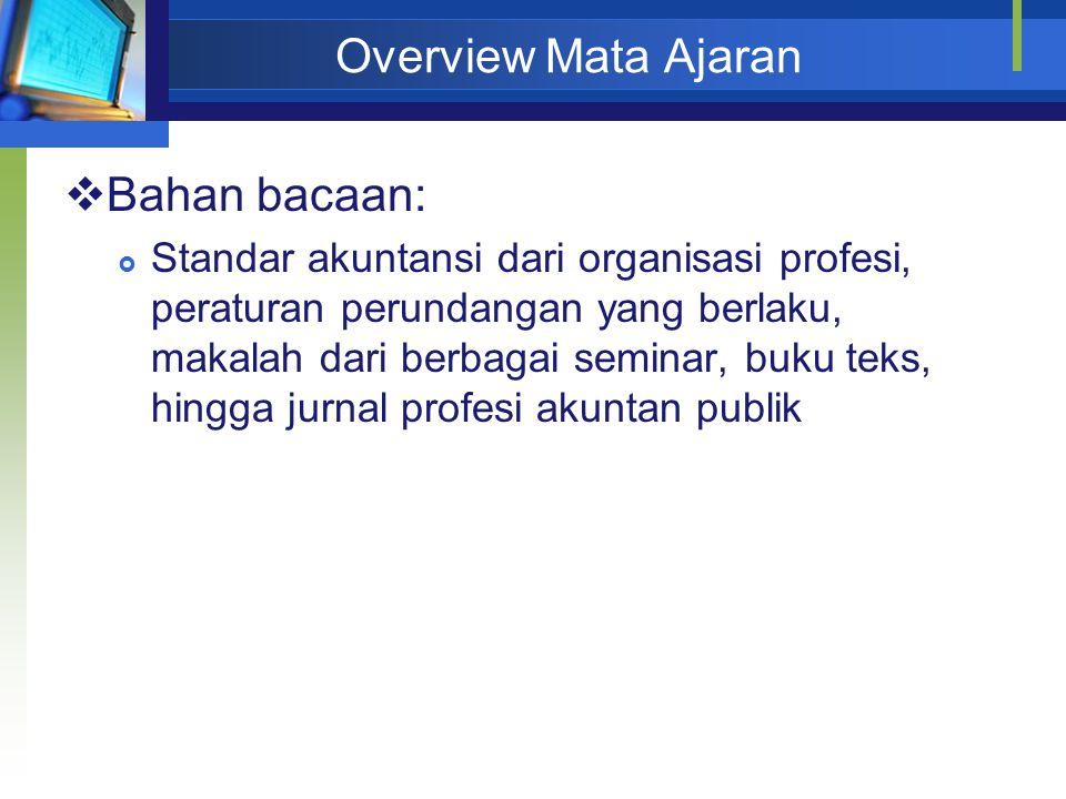Overview Mata Ajaran Bahan bacaan: