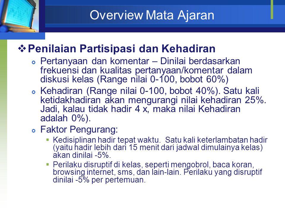 Overview Mata Ajaran Penilaian Partisipasi dan Kehadiran