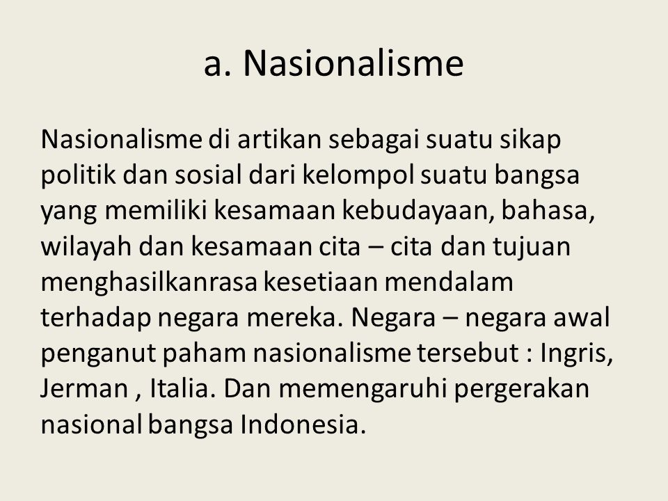 a. Nasionalisme