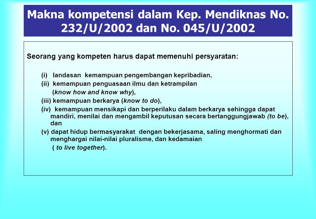 Makna kompetensi dalam Kep. Mendiknas No. 232/U/2002 dan No. 045/U/2002