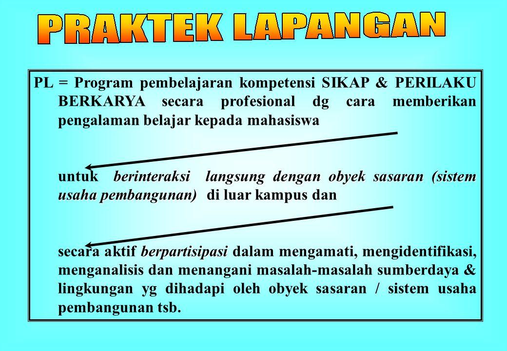 PL = Program pembelajaran kompetensi SIKAP & PERILAKU BERKARYA secara profesional dg cara memberikan pengalaman belajar kepada mahasiswa