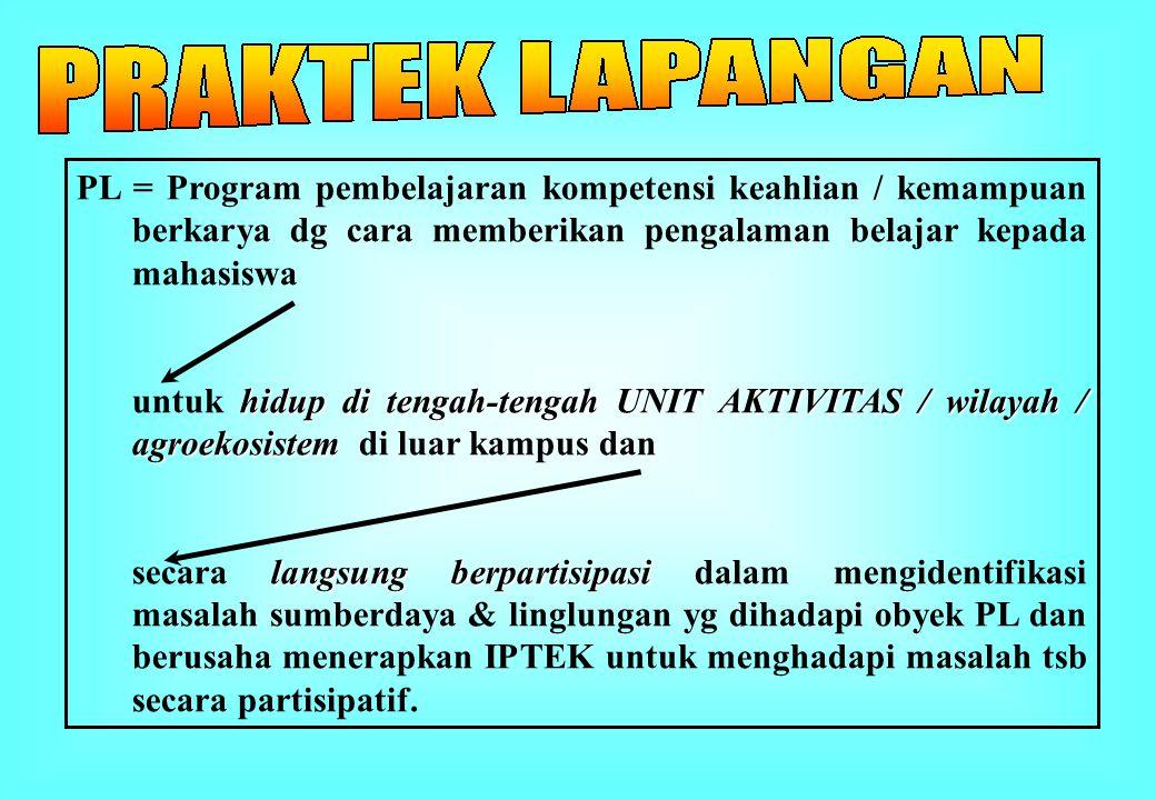 PL = Program pembelajaran kompetensi keahlian / kemampuan berkarya dg cara memberikan pengalaman belajar kepada mahasiswa