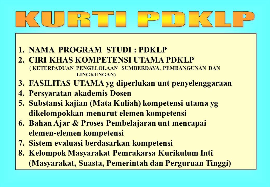 KURTI PDKLP 1. NAMA PROGRAM STUDI : PDKLP