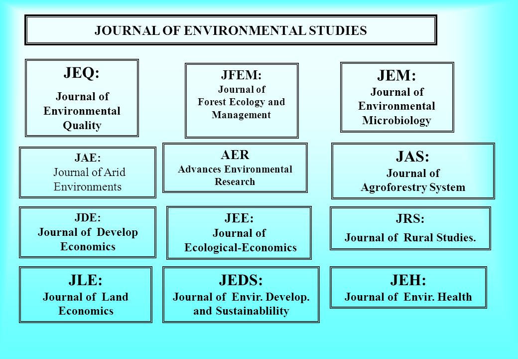 JOURNAL OF ENVIRONMENTAL STUDIES