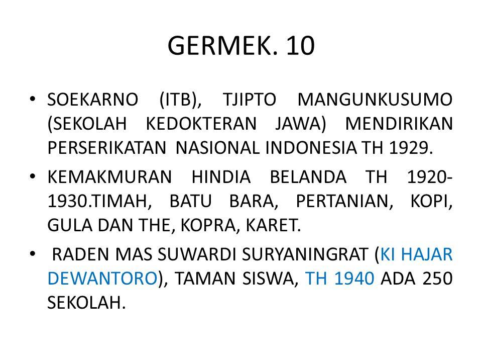 GERMEK. 10 SOEKARNO (ITB), TJIPTO MANGUNKUSUMO (SEKOLAH KEDOKTERAN JAWA) MENDIRIKAN PERSERIKATAN NASIONAL INDONESIA TH 1929.