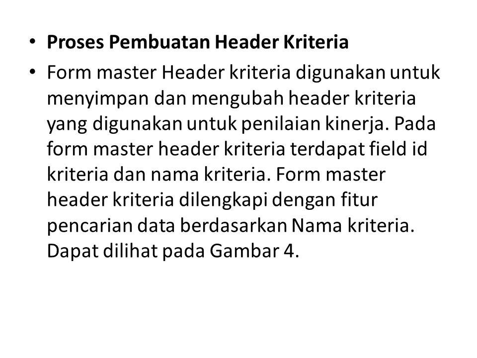 Proses Pembuatan Header Kriteria