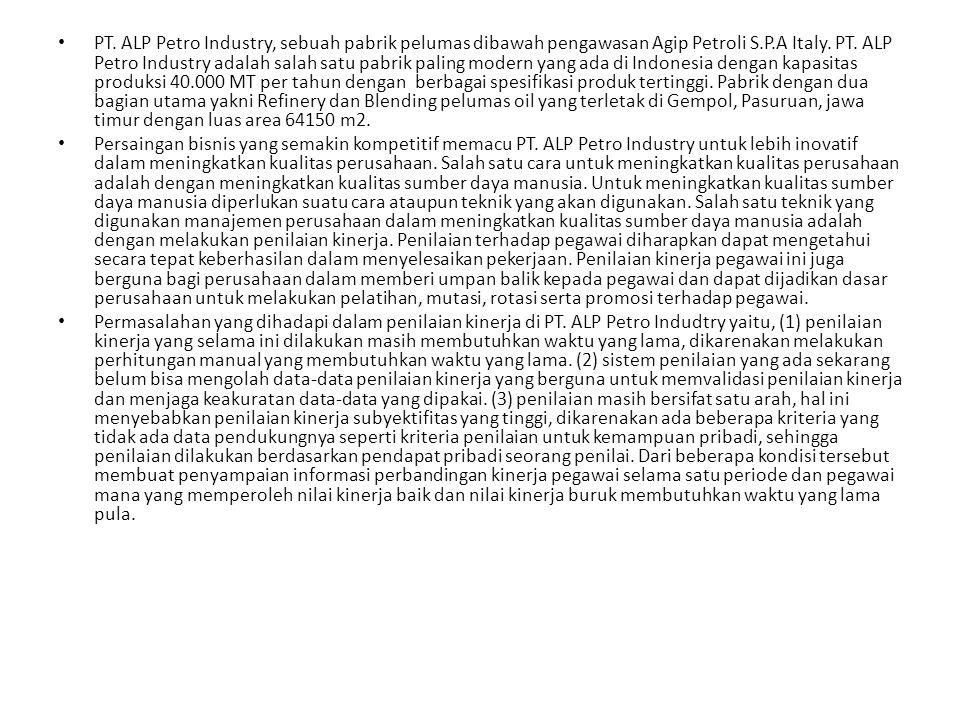 PT. ALP Petro Industry, sebuah pabrik pelumas dibawah pengawasan Agip Petroli S.P.A Italy. PT. ALP Petro Industry adalah salah satu pabrik paling modern yang ada di Indonesia dengan kapasitas produksi 40.000 MT per tahun dengan berbagai spesifikasi produk tertinggi. Pabrik dengan dua bagian utama yakni Refinery dan Blending pelumas oil yang terletak di Gempol, Pasuruan, jawa timur dengan luas area 64150 m2.