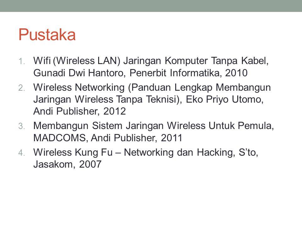 Pustaka Wifi (Wireless LAN) Jaringan Komputer Tanpa Kabel, Gunadi Dwi Hantoro, Penerbit Informatika, 2010.