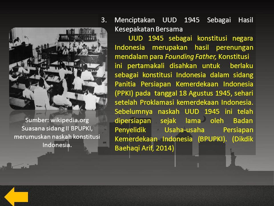 Suasana sidang II BPUPKI, merumuskan naskah konstitusi Indonesia.