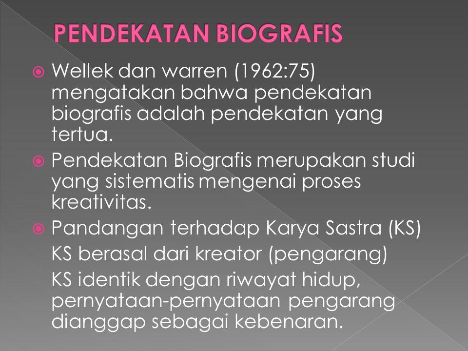 PENDEKATAN BIOGRAFIS Wellek dan warren (1962:75) mengatakan bahwa pendekatan biografis adalah pendekatan yang tertua.