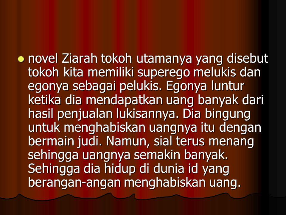novel Ziarah tokoh utamanya yang disebut tokoh kita memiliki superego melukis dan egonya sebagai pelukis.