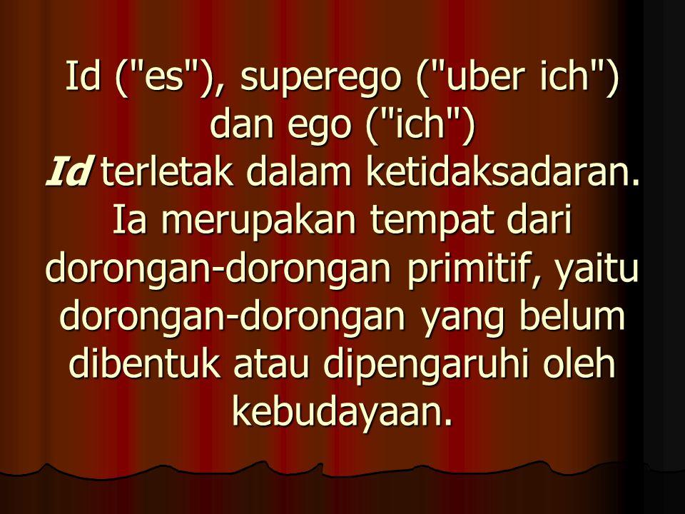 Id ( es ), superego ( uber ich ) dan ego ( ich ) Id terletak dalam ketidaksadaran.