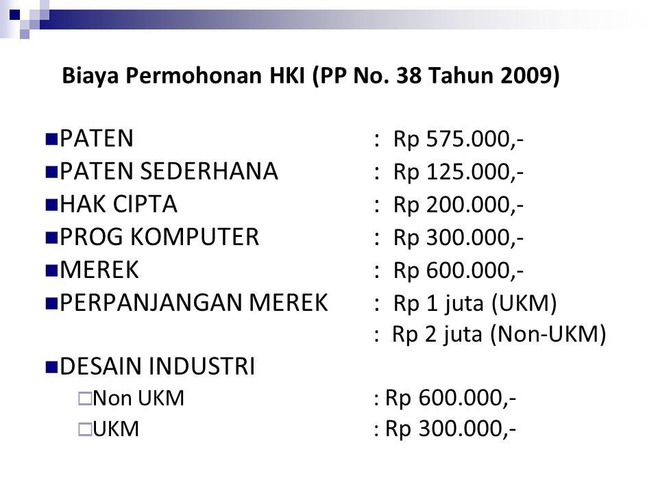Biaya Permohonan HKI (PP No. 38 Tahun 2009)