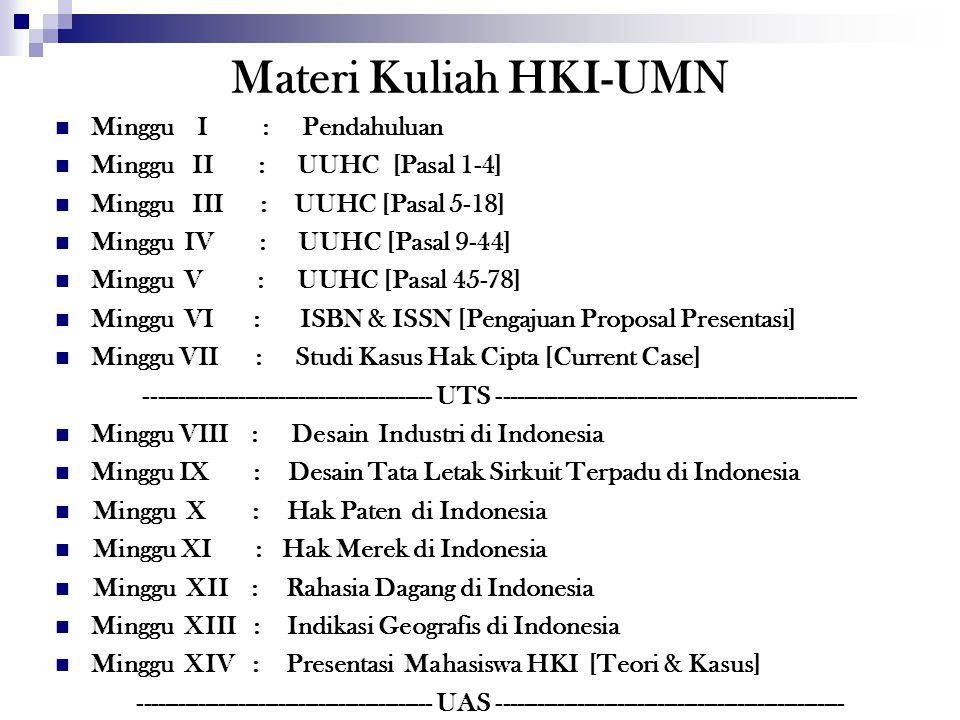 Materi Kuliah HKI-UMN Minggu I : Pendahuluan