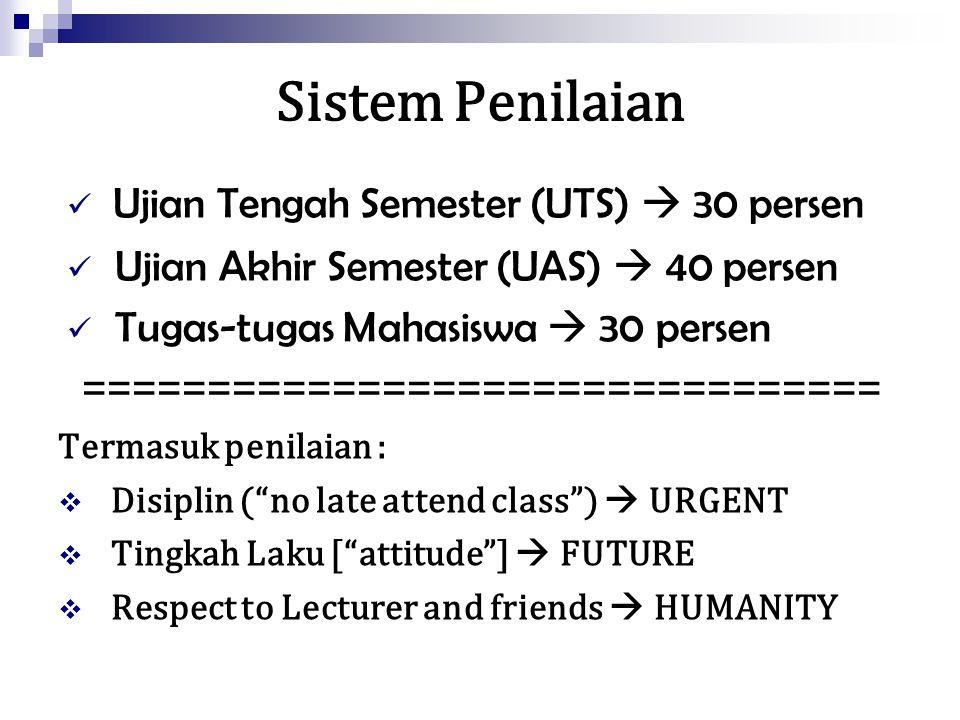 Sistem Penilaian Ujian Tengah Semester (UTS)  30 persen