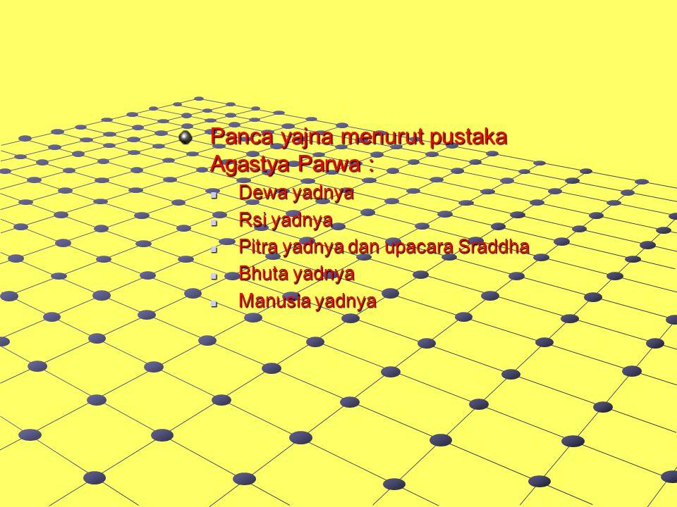 Panca yajna menurut pustaka Agastya Parwa :