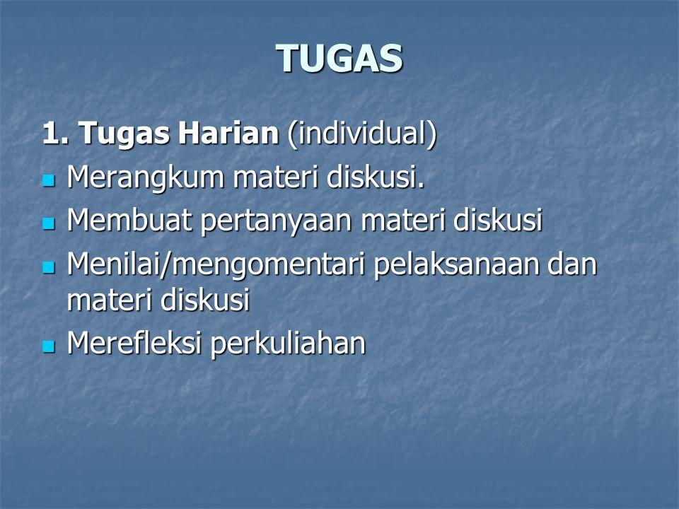 TUGAS 1. Tugas Harian (individual) Merangkum materi diskusi.