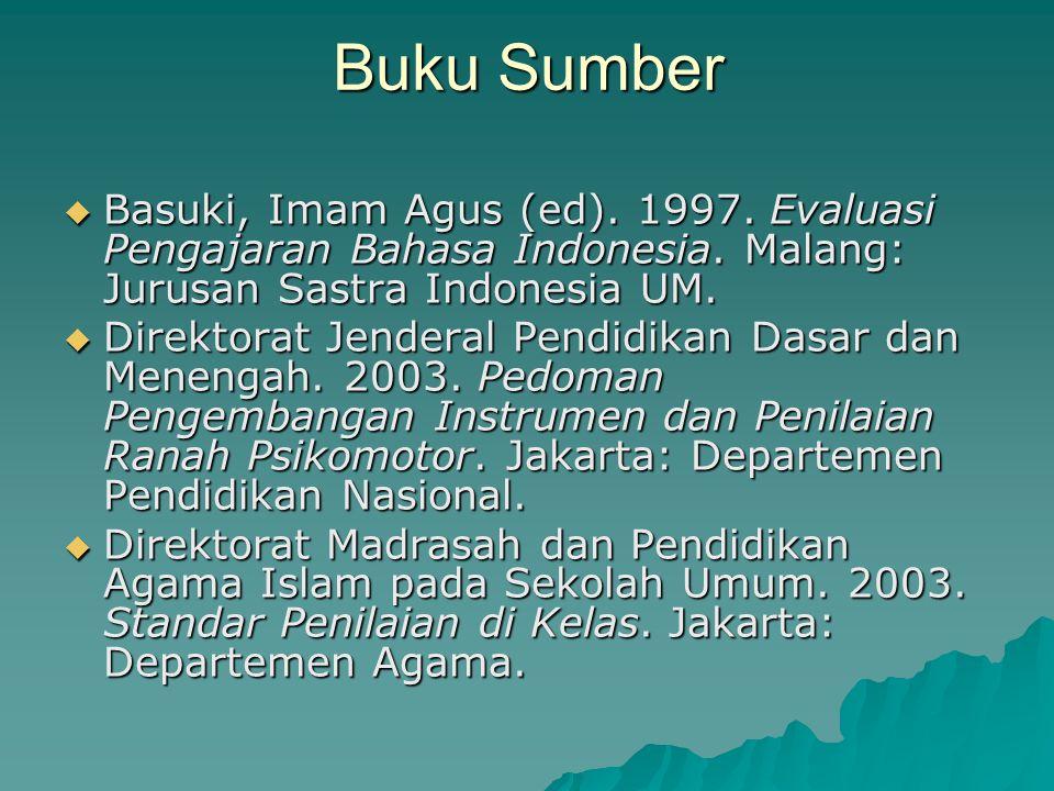 Buku Sumber Basuki, Imam Agus (ed). 1997. Evaluasi Pengajaran Bahasa Indonesia. Malang: Jurusan Sastra Indonesia UM.