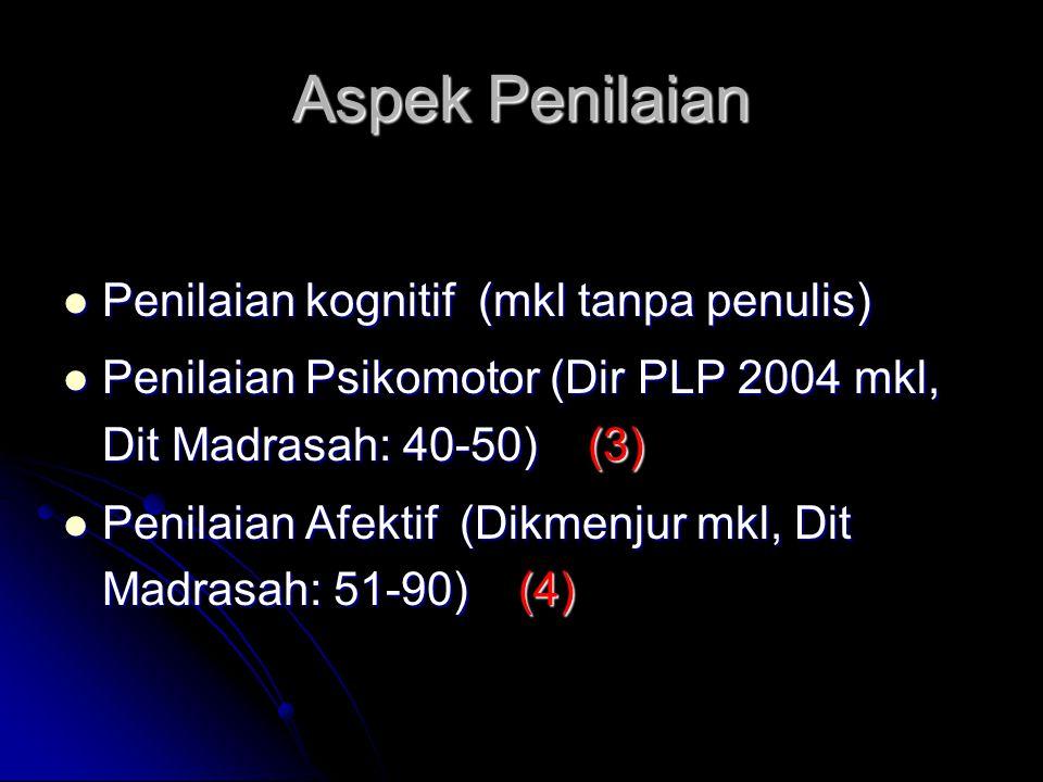Aspek Penilaian Penilaian kognitif (mkl tanpa penulis)