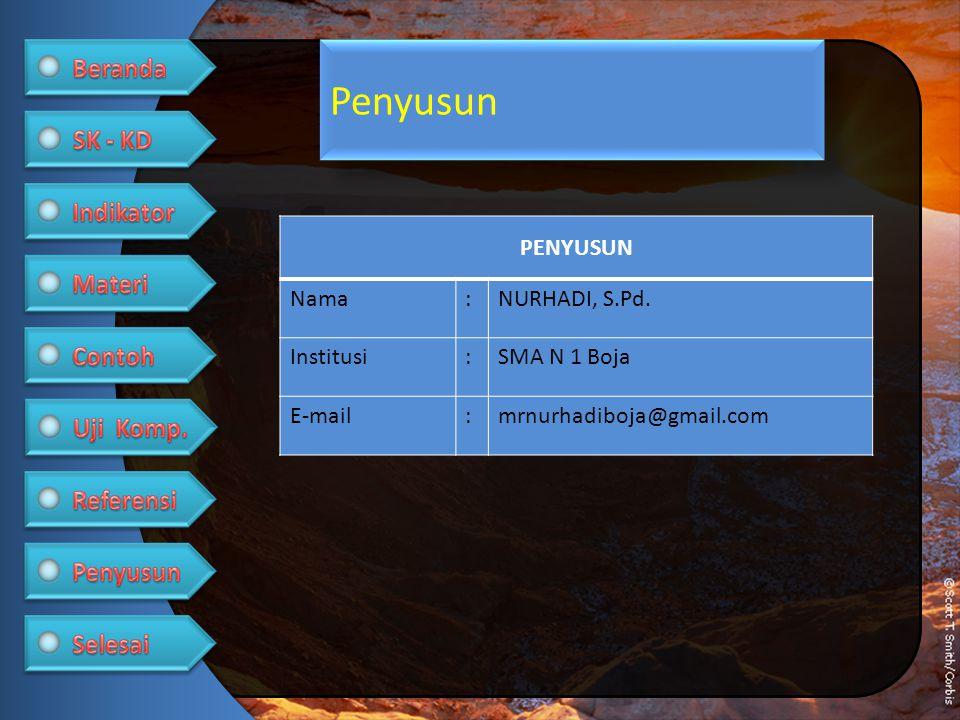 Penyusun PENYUSUN Nama : NURHADI, S.Pd. Institusi SMA N 1 Boja E-mail