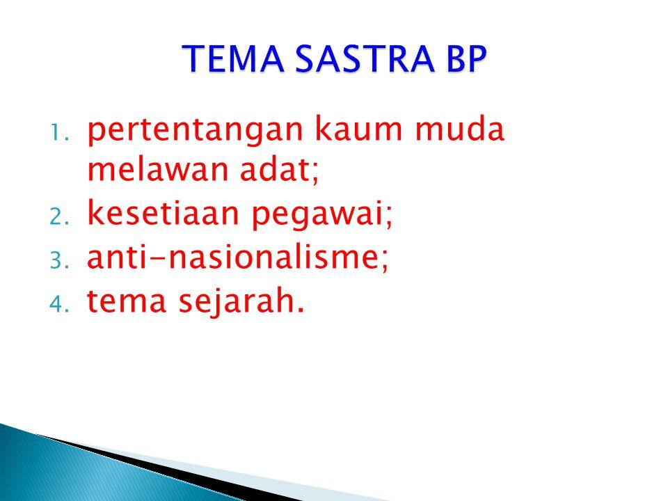 TEMA SASTRA BP pertentangan kaum muda melawan adat; kesetiaan pegawai;