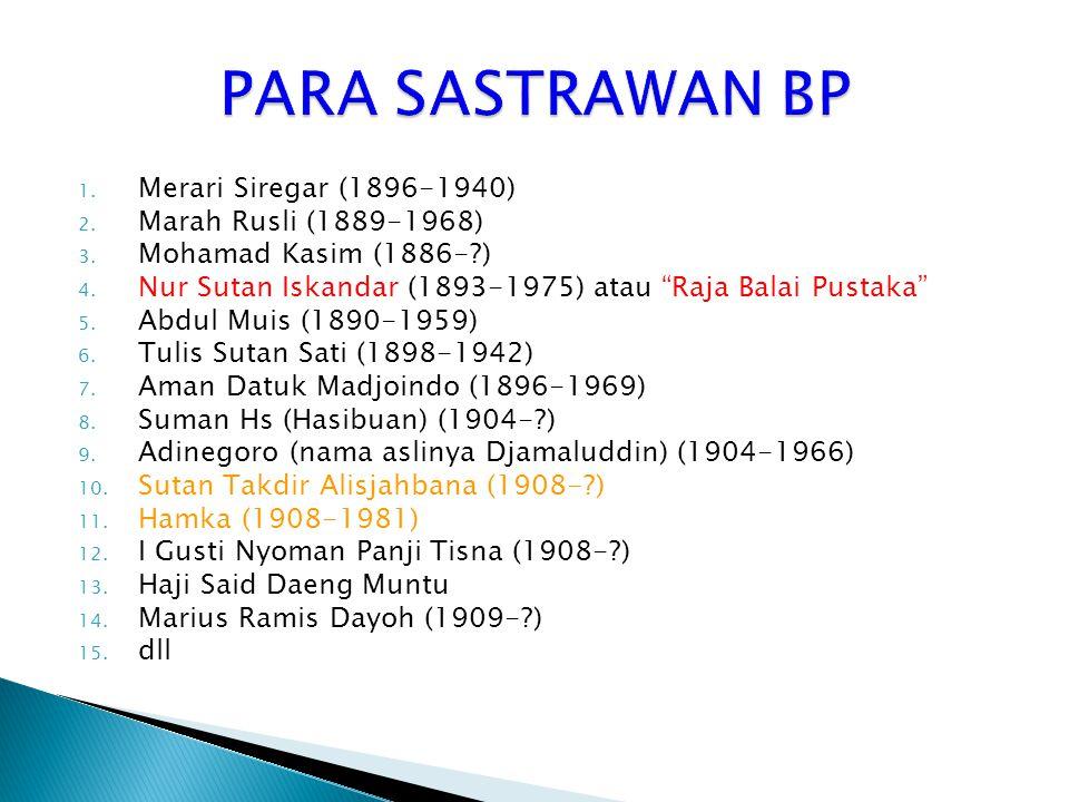 PARA SASTRAWAN BP Merari Siregar (1896-1940) Marah Rusli (1889-1968)