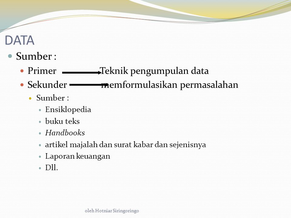 DATA Sumber : Primer Teknik pengumpulan data