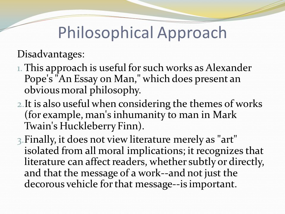philosophical essay on man Philosophy of the human person module iv: why greek philosophy the last module discussed the gradual separation between mythology and philosophy in the greek culture.