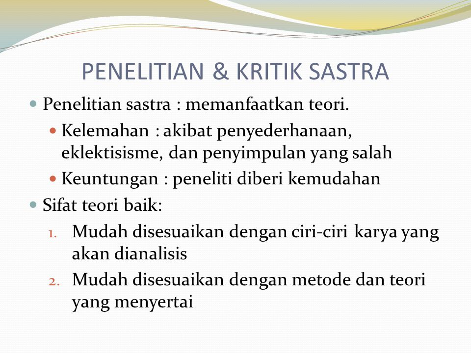 PENELITIAN & KRITIK SASTRA