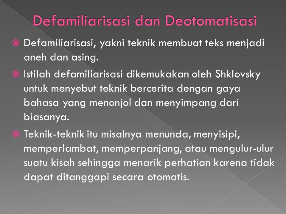 Defamiliarisasi dan Deotomatisasi