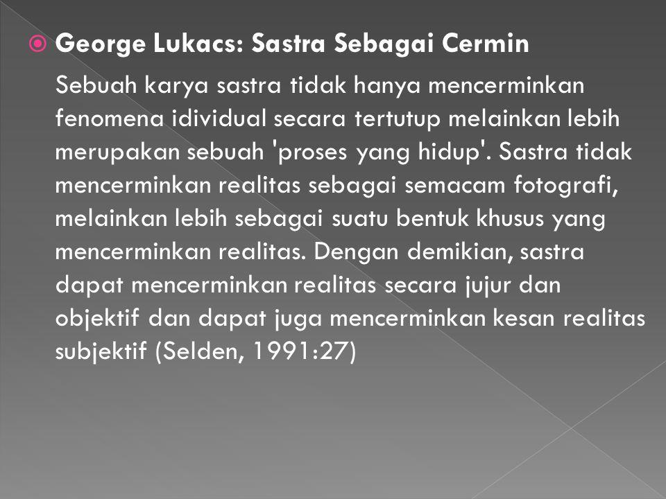 George Lukacs: Sastra Sebagai Cermin
