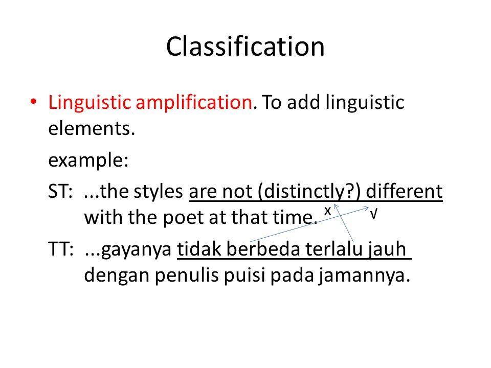 Classification Linguistic amplification. To add linguistic elements.