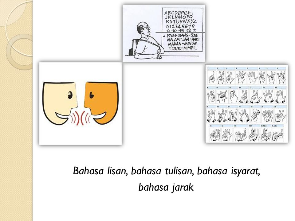 Bahasa lisan, bahasa tulisan, bahasa isyarat,