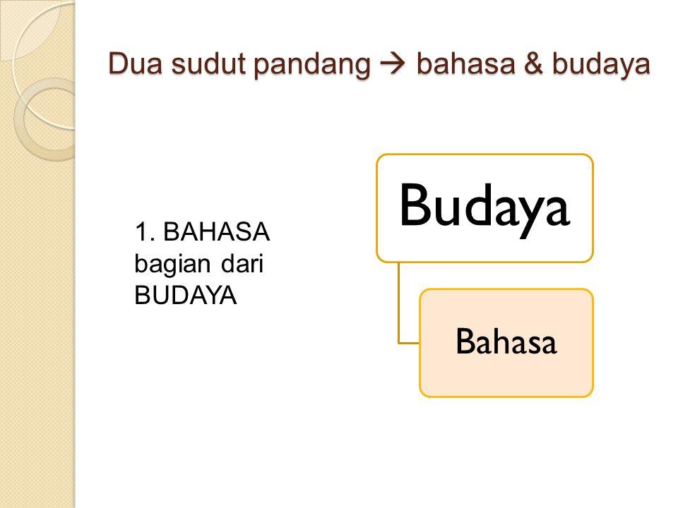 Dua sudut pandang  bahasa & budaya