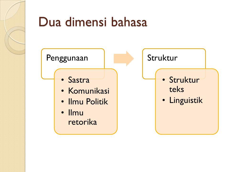 Dua dimensi bahasa Penggunaan Sastra Komunikasi Ilmu Politik