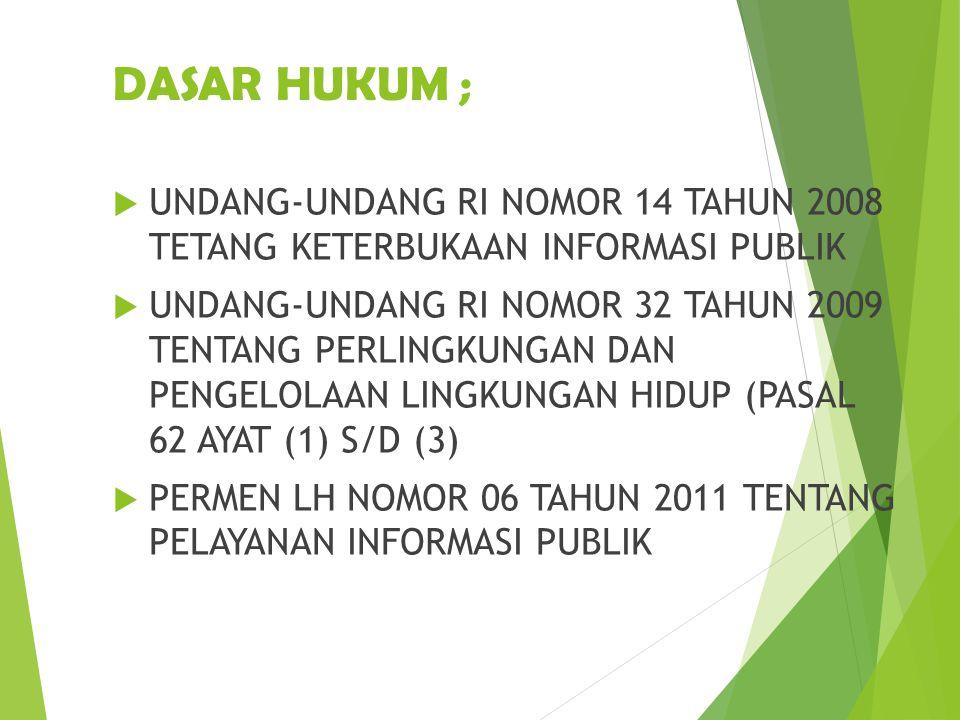 DASAR HUKUM ; UNDANG-UNDANG RI NOMOR 14 TAHUN 2008 TETANG KETERBUKAAN INFORMASI PUBLIK.