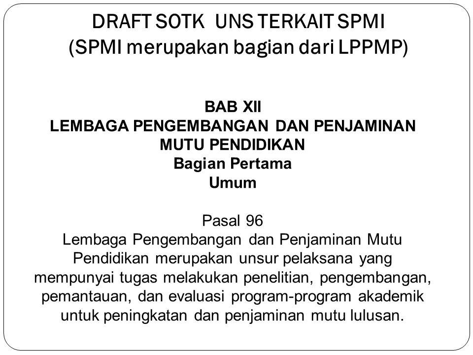 DRAFT SOTK UNS TERKAIT SPMI (SPMI merupakan bagian dari LPPMP)