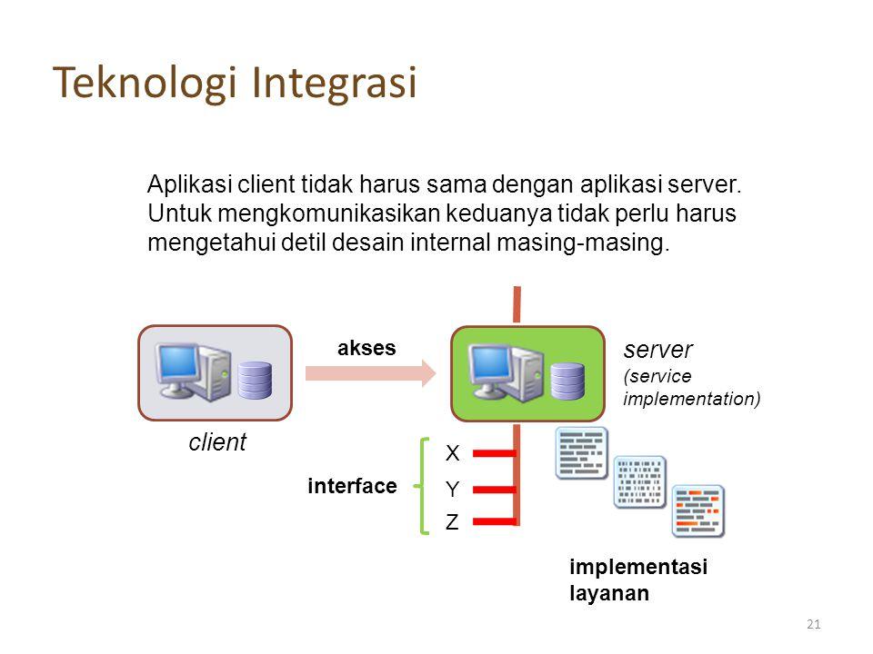 Teknologi Integrasi Aplikasi client tidak harus sama dengan aplikasi server. Untuk mengkomunikasikan keduanya tidak perlu harus.