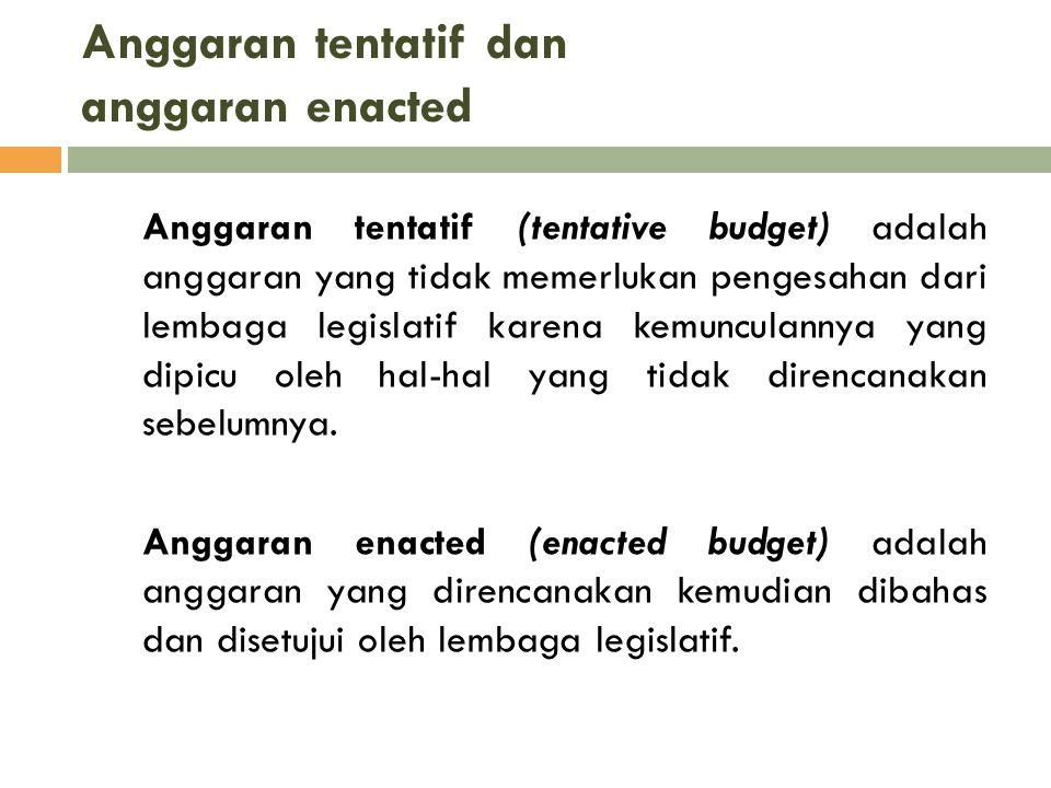 Anggaran tentatif dan anggaran enacted