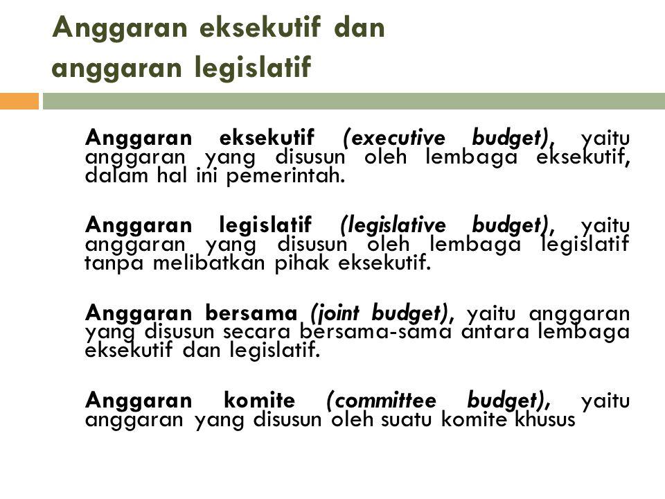 Anggaran eksekutif dan anggaran legislatif