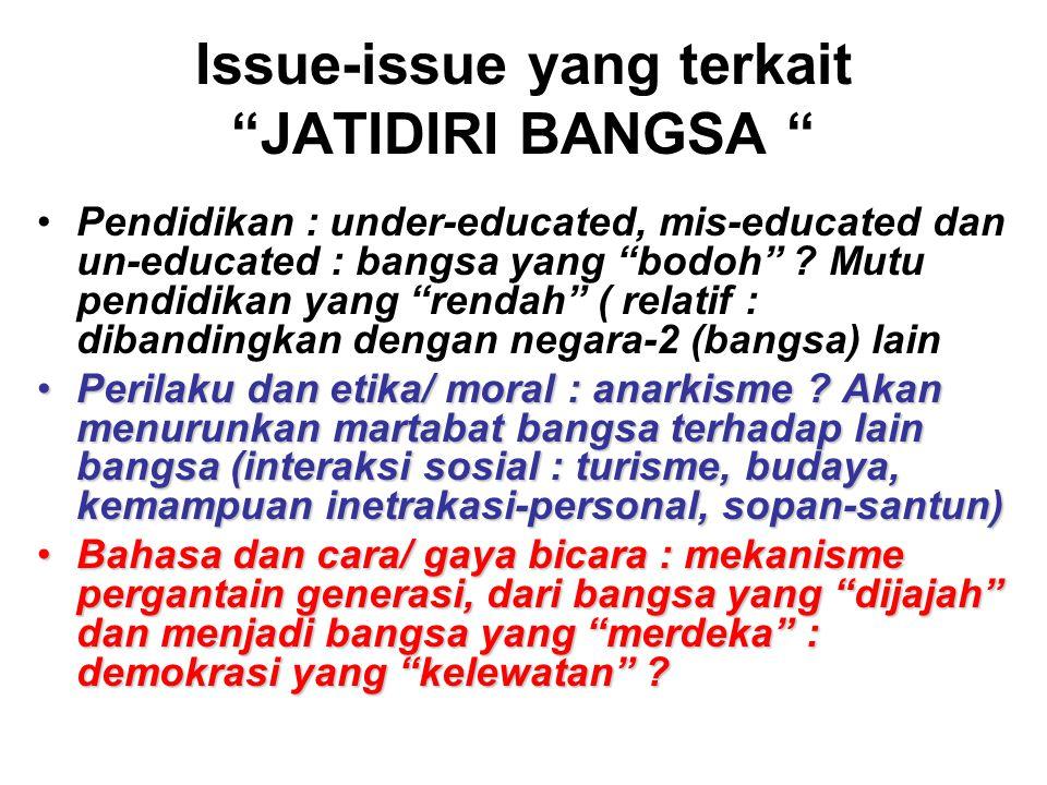 Issue-issue yang terkait JATIDIRI BANGSA