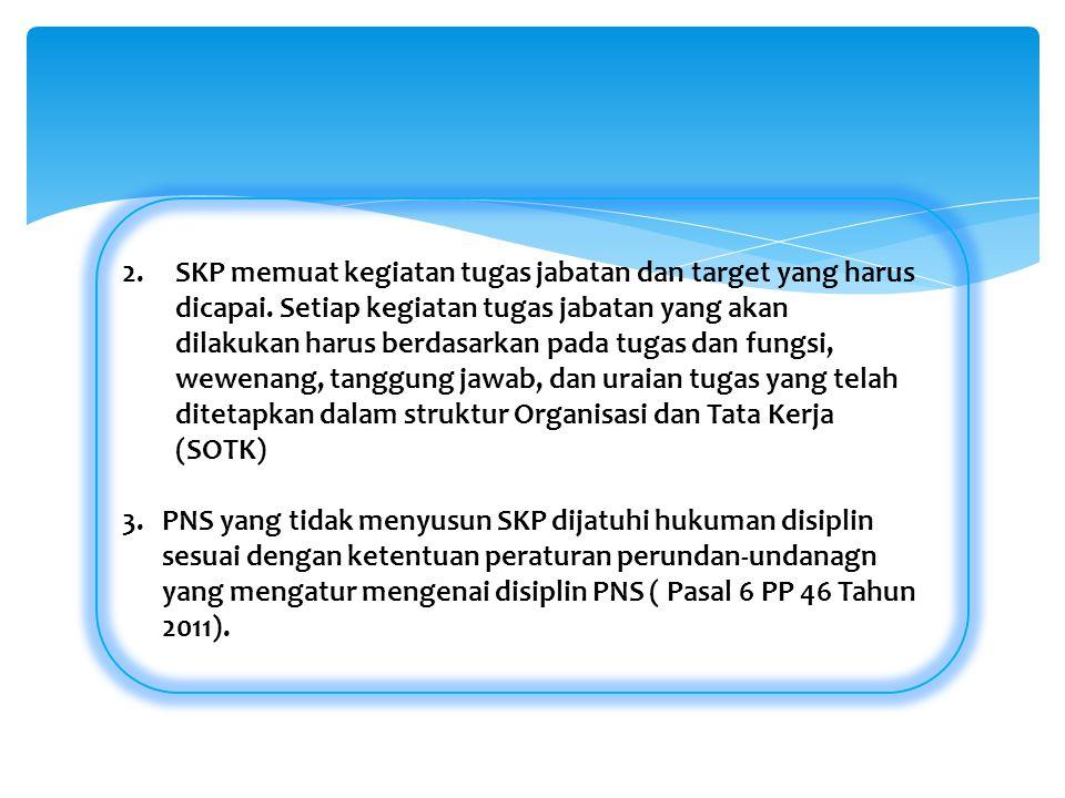 SKP memuat kegiatan tugas jabatan dan target yang harus dicapai