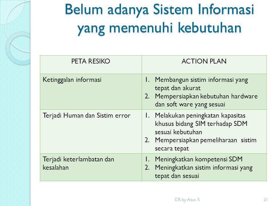 Belum adanya Sistem Informasi yang memenuhi kebutuhan