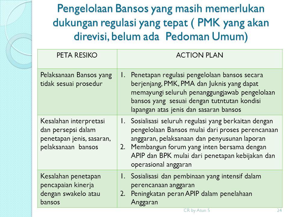 Pengelolaan Bansos yang masih memerlukan dukungan regulasi yang tepat ( PMK yang akan direvisi, belum ada Pedoman Umum)