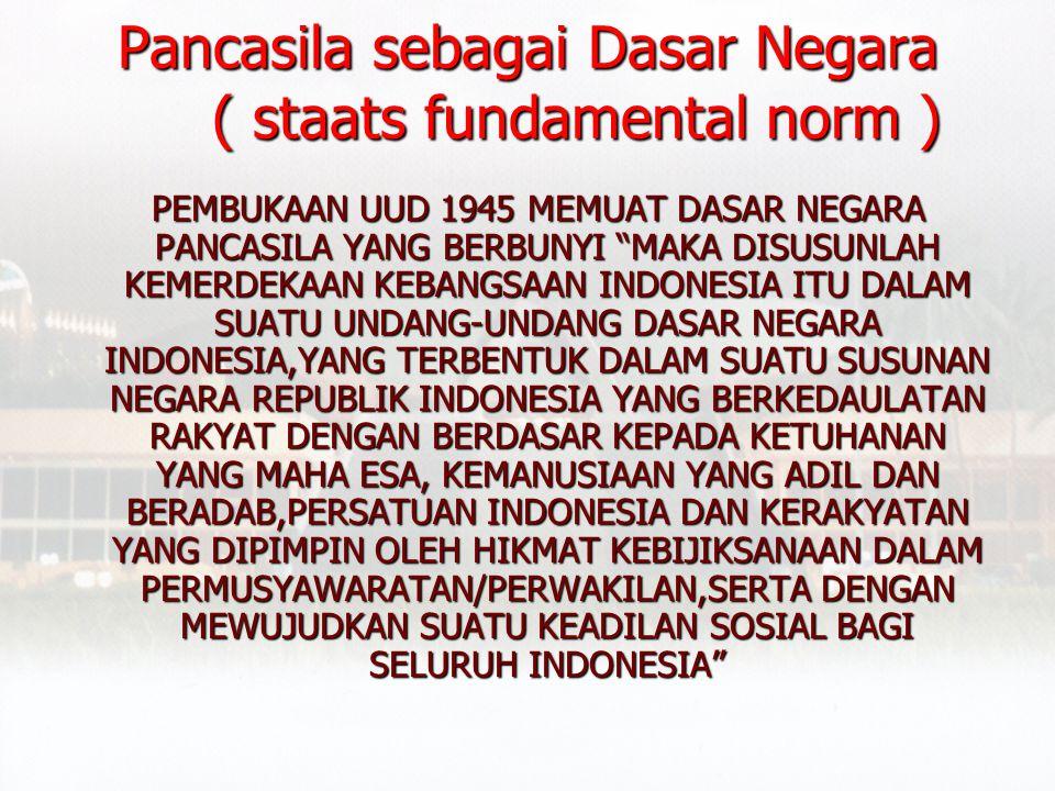 Pancasila sebagai Dasar Negara ( staats fundamental norm )